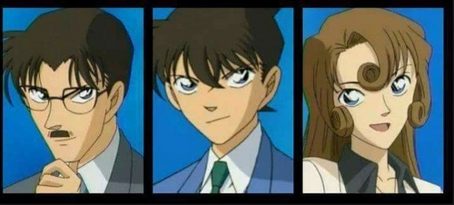 Shinichi from Detective Conan (middle) has his parents Yusaku and Yukiko!