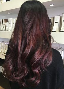 My hair looks about like this in length, structure and color except that my natural color at roots is brown not so dark. At the beginning of the год I had some purple highlights done, but at this point they are looking еще burgundy. :/