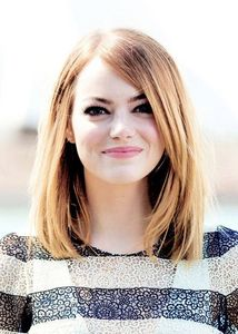 my hair is a lighter shade of Emma Stone's.It's еще like a клубника blond color,and a little bit shorter (just above my shoulders)