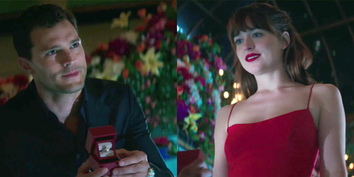 Jamie being romantic in a scene from Fifty Shades Darker as his character Christian proposes to Anastasia(Dakota Johnson) with hearts and flowers.Can't get any 更多 romantic than that<3
