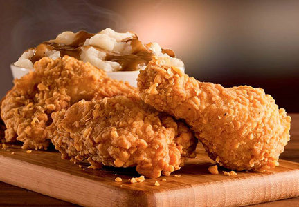 KFC extra crispy chicken and mashed potatoes