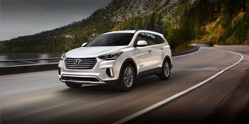 hyundai santa fe se...... it looks quite cool...it has 3 rows...... good for long distance travel (i would like to go for Audi или BMW but they are really costly...... )