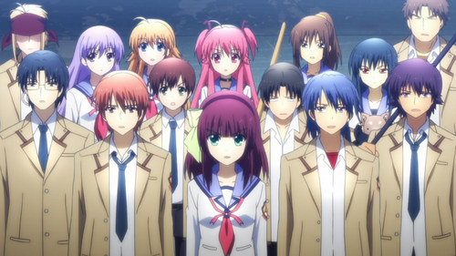 anda are probably talking about Angel Beats. There is fighting between non vampire students in a school and there is a lot of colorful hair.