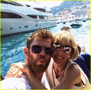 Chris Hemsworth on vacation with his wife in Monaco.Also on the vacation was Chris's new buddy,actor Matt Damon and his wife.It was a joint family vacation