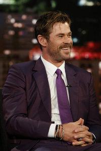 Hemsworth in a purple tie<3