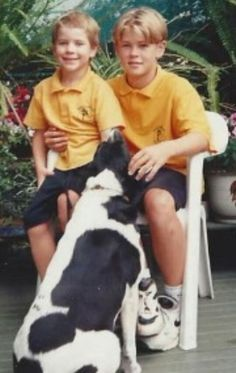 a younger Chris with his brother Liam when they were youngsters