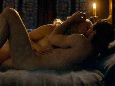 Kit Harington and Emilia Clarke in a sexy scene from Game of Thrones