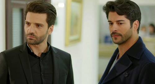 "Kaan Urgancioglu with Burak Ozcivit. (They nyota in the Turkish TV series ""Kara Sevda"".)"