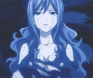 Juvia from fairy tail she was too much l'amour sick but then she changed into I cool character.