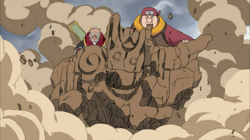 Onoki - Doton: Gōremu no Jutsu (Naruto Shippuden) his full power is with stone....and this is one of his power Rock Golem........!!!!!!