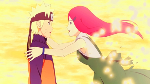Kushina and Naruto. I almost cried when Naruto met his mother for the first time.