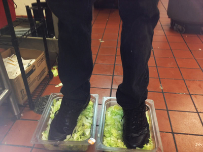 You know what... Number 15. Burger king foot lettuce. The last thing you want in your Burger King burger is someone's foot fungus. But as it turns out, that might be what you get. A 4channer uploaded a fotografia anonymously to the site showcasing his feet in a plastic bin of lettuce. With the statement -This is the alface you eat at Burger King. Admittedly, he had shoes on, but that`s even worse.