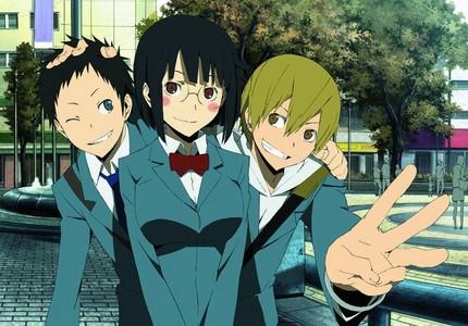 Masaomi, Anri and Mikado from Durarara!!  Isaac and Miria in Baccano.  Armin, Mikasa and Eren in AoT.