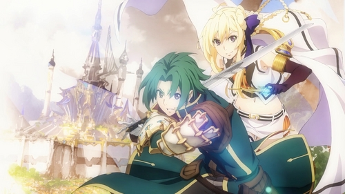 """I could be wrong, as I have not seen this mostrar but your descripción of a boy who is a green haired knight, a blond girl who is a mage and the setting being a historical fantasía world reminded me of """"Record of Grancrest War."""""""