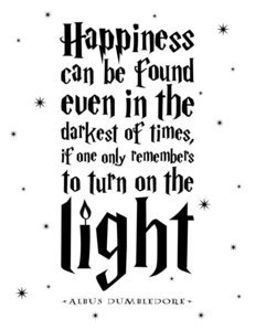 """Happiness can be found even in the darkest of times, if one only remembers to turn on the light"""
