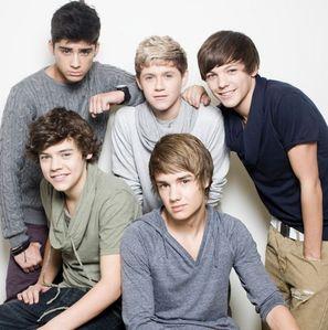 the 回答 is: harry is orange, Liam is purple, Niall is green/blue, Louis is dark red, Zayn is blue