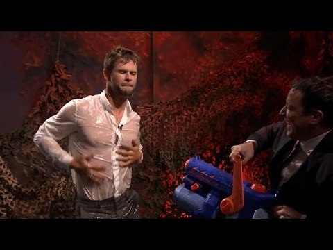 his camicia is see through from the water war he had with Jimmy Fallon.Thank you,Jimmy!!!
