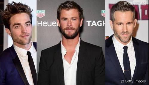 how about a trio of sexy superheros... Robert Pattinson,Chris Hemsworth and Ryan Reynolds