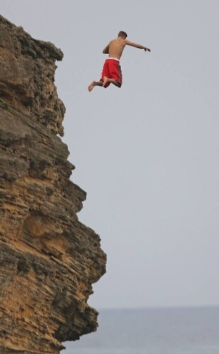 Justin jumping off a cliff !
