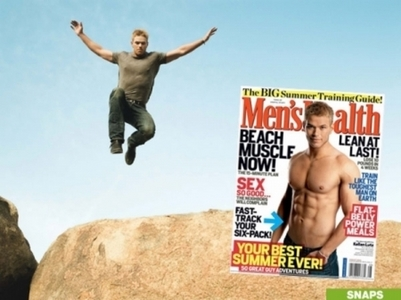Kellan jumping from a cliff for a photoshoot