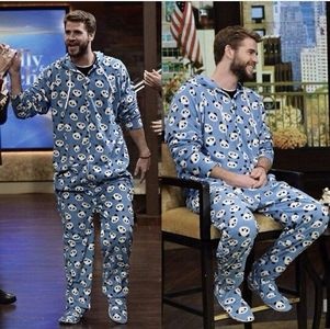 pajama party time!!!!Liam Hemsworth in cute pjs with feet