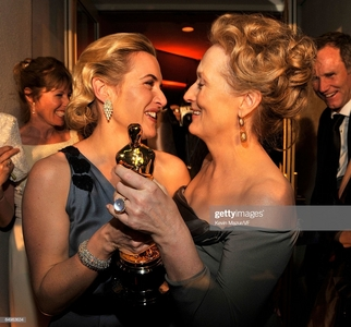 my fave actress Kate Winslet with the most nominated actress in Oscar history,Meryl Streep