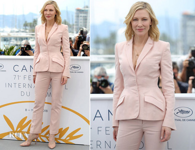 Cate in a pale ピンク Stella McCartney suit