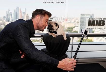 a selfie with a pug