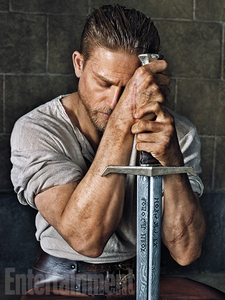 Charlie Hunnam with the sword of King Arthur