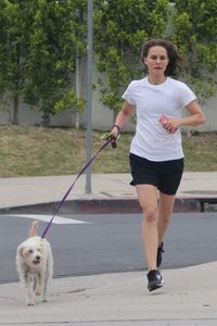 Natalie and her dog out for a jog