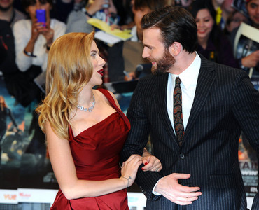 Chris looking at his Avengers co-star,Scarlett Johansson