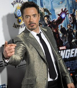 RDJ in a metallic sparkly jaket