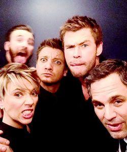 goofy Avengers selfie