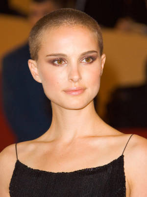 Natalie with a buzz cut