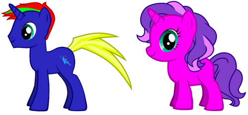 Can you draw mine in a 3D like style? The First one is a version of me named Thunder Tail (The one on the left). He is basically the embodiment of joy, always happy no matter what comes his way. The other one is Thunder Tail and Twilight Sparkle's daughter named Scarlet Sparkle (the one on the right). They didn't name her because of the color red, but because the amount of scars they predict she will have in the future because she has Murphy's Law. They will be walking and Scarlet will be riding Thunder Tail's back while looking at something that's falling on them and Thunder Tail will be oblivious. There will be a bunch of chaos in the background. The location is outside in ponyville.