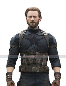 Chris Evans in his Captain America suit which has a * on it