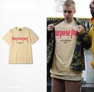Justin wearing his own Purpose tour merchandise