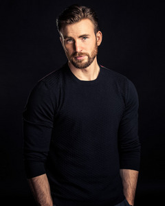 our sexy Captain America in a black jumper(or as the Americans say sweater)