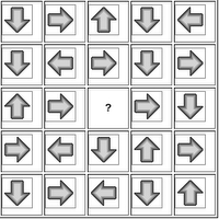 In which direction should the missing arrow point ?