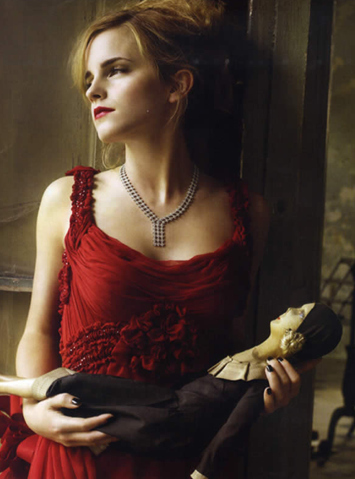 post a picture of emma in red dress.