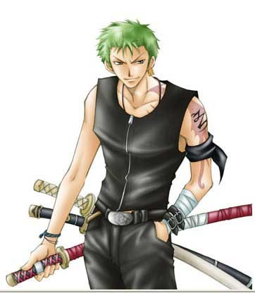 Post an 日本动漫 character with green hair.