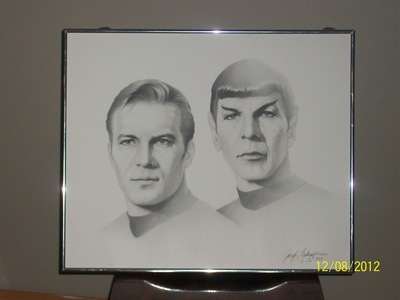 Star Trek's Captain Kirk and Mr. Spock. Gary Adams 1989 Artist Print