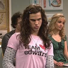 Post a pic of an actor in drag.Mine is of Taylor Lautner,in a skit from Saturday Night Live.