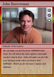 Post a picture of an actor on a trading card.