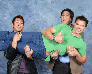 Post a picture of an actor taking a funny picture with fans.