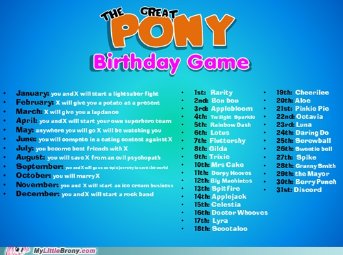 The Great pony Birthday Game