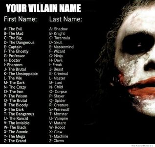 villain name generator - Villains Answers - Fanpop