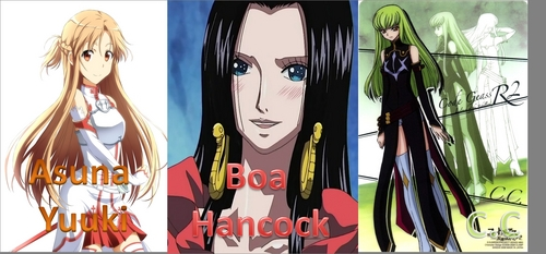 Post three anime female characters according to alphabetic order.