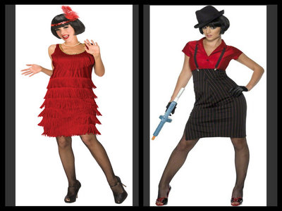 My mom, grandma and I are going to a party dress in 1920's costumes. what should I be? a flapper या a gangster
