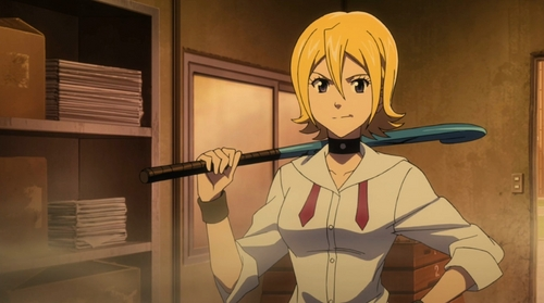 Post an anime character who uses sports equipment as a weapon.